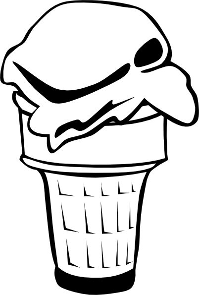 free vector Ice Cream Cone (1 Scoop) (b And W) clip art
