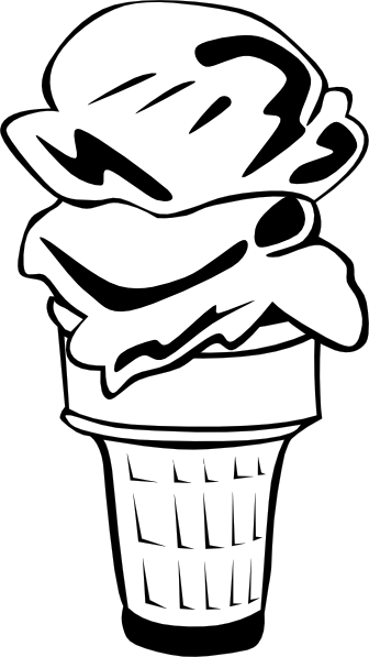 free vector Ice Cream Cone (2 Scoop) (b And W) clip art