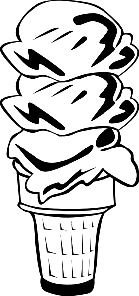 free vector Ice Cream Cone (3 Scoop) (b And W) clip art