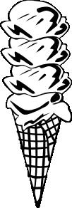 free vector Ice Cream Cone (4 Scoop) (b And W) clip art