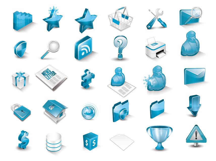 free vector Icon a very fine bluedimensional icon vector