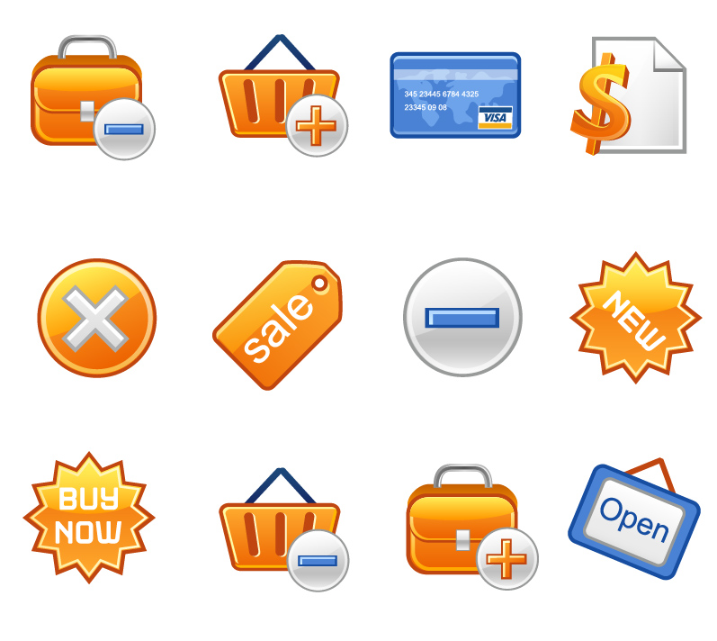 free vector Icon go shopping articles vector