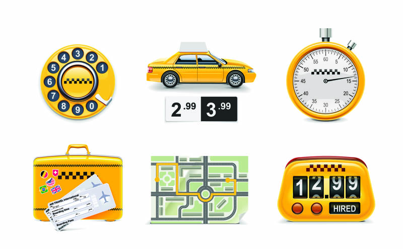 free vector Icon taxi around 01 vector