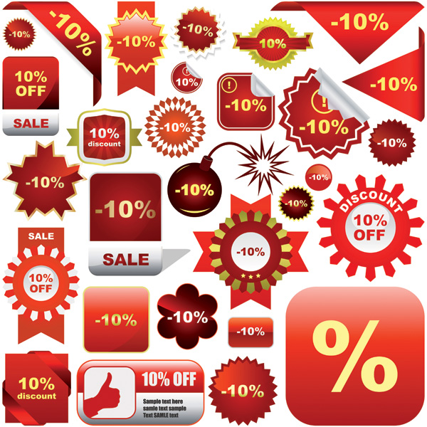 free vector Icon vector discount sales posters