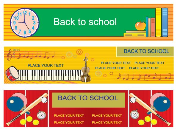 free vector Illustration style of education theme vector banner design templates 3