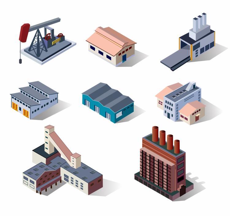 free vector Industrial buildings