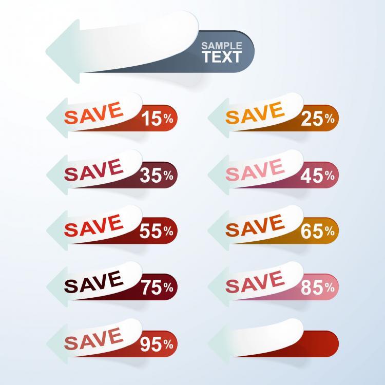free vector Information stickers 01 vector