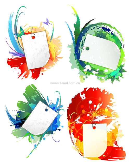 free vector Ink and blank cards vector background