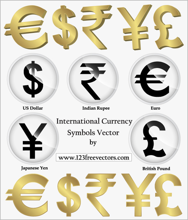 free vector International Currency Symbols Vector, Png, Indian Rupees