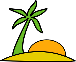 free vector Island, Palm, And The Sun clip art