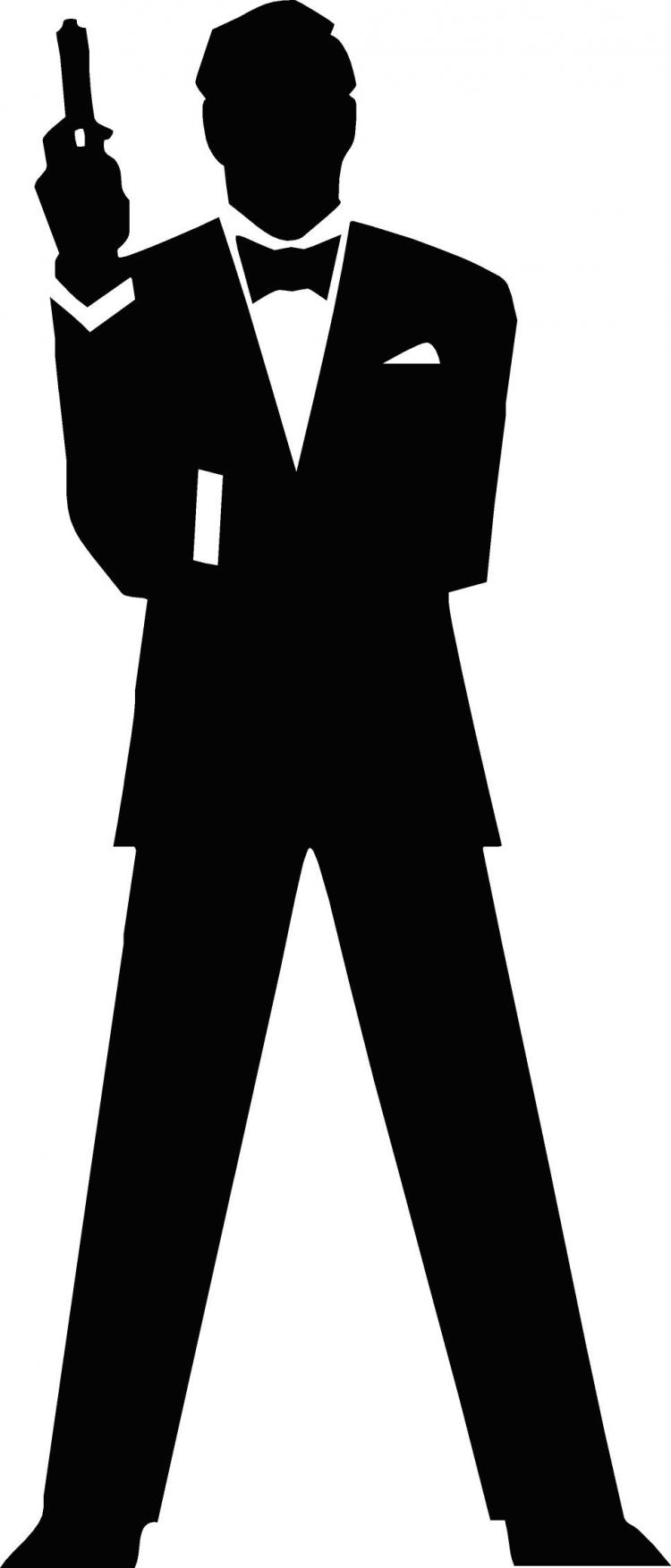 free vector James Bond Secret Agent 007 Black & White Silo