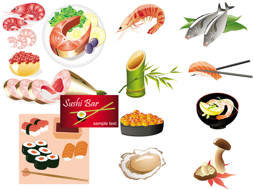 free vector Japanese seafood cuisine vector