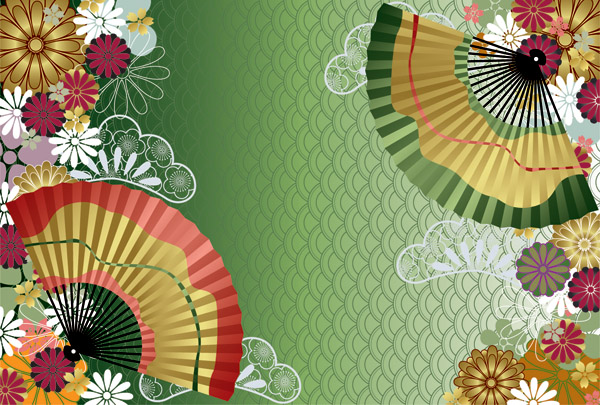 Japanese Wind Pattern Background Vector 17861 on art deco patterns