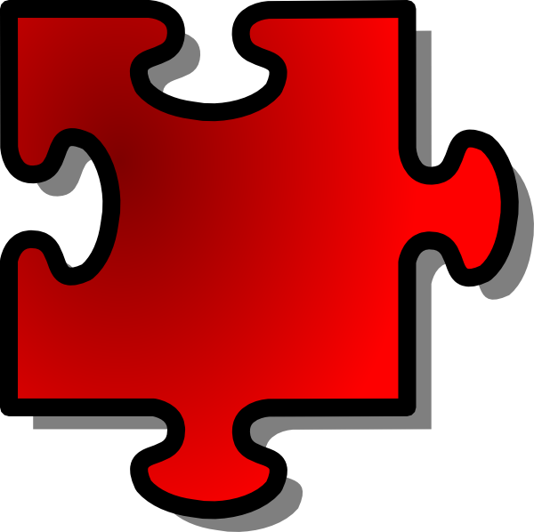 free vector Jigsaw Red clip art