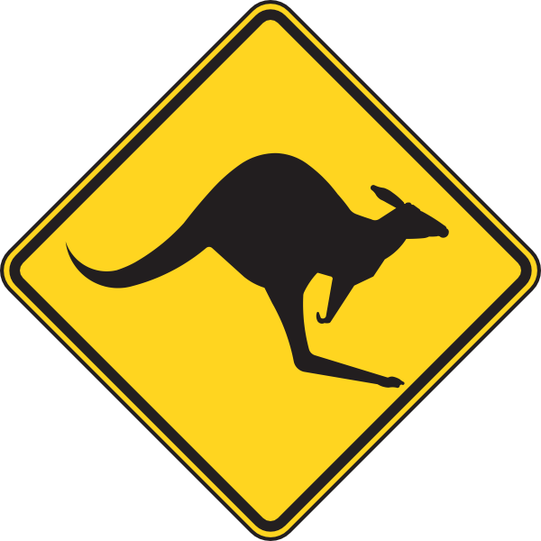 free vector Kangaroo Warning Sign clip art