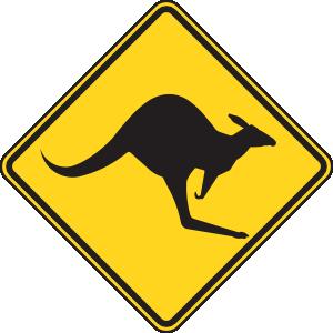 free vector Kangaroo Warning Sign clip art