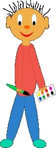 free vector Kid Holding Paint Brush clip art
