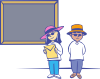 free vector Kids In Front Of A Blackboard clip art