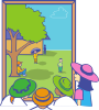 free vector Kids Looking Out Window clip art