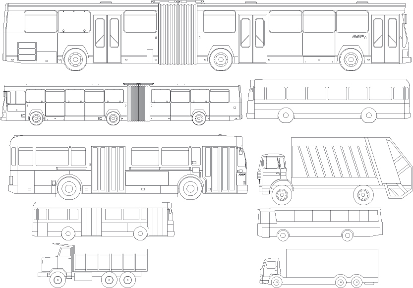Kinds of line drawing car bus vector Free Vector / 4Vector