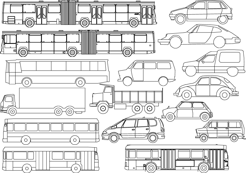 free vector Kinds of line drawing car bus vector