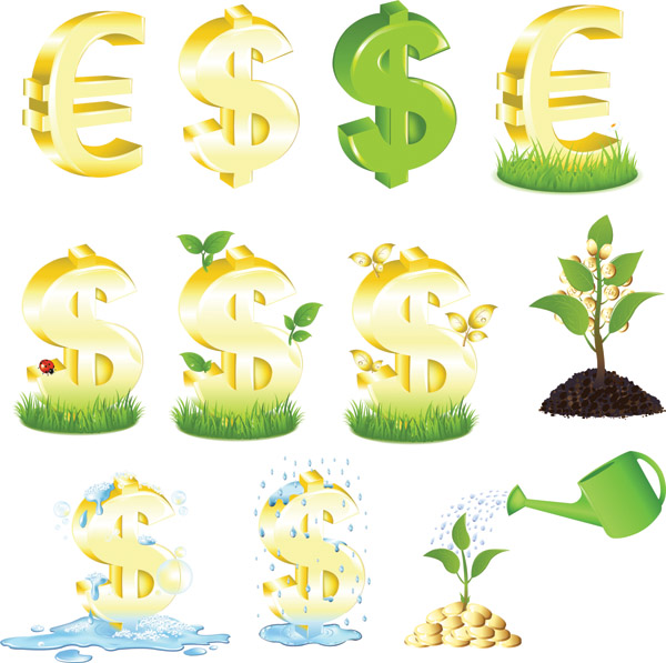 free vector Kinds of money vector