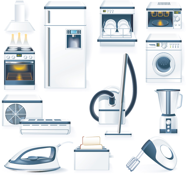 Kitchen appliances vector free vector 4vector for Essential appliances for a new home