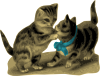 free vector Kittens One With Blue Ribbon clip art