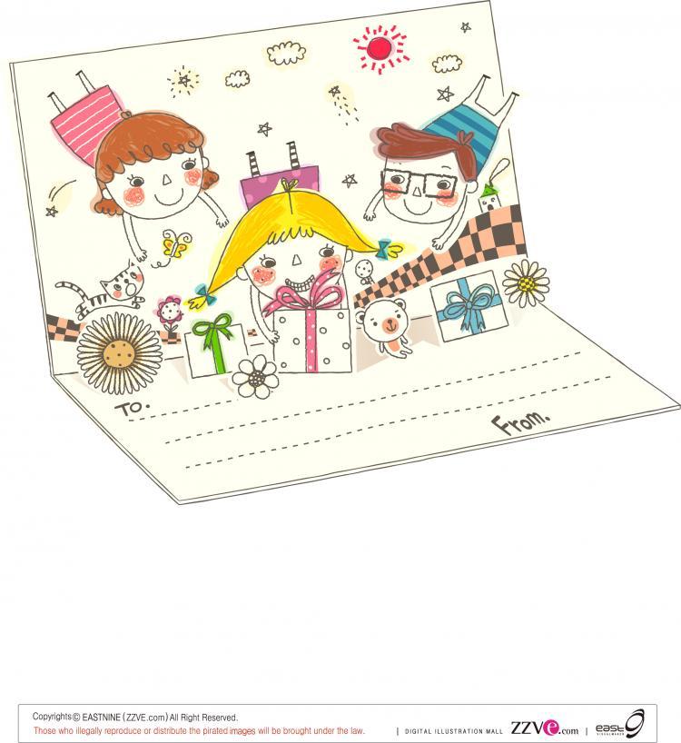 free vector Korea cute line drawing vector 1 family