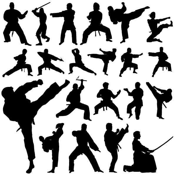 free vector Kung Fu Action Silhouette Vector