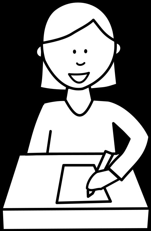 free vector Élève écrivant / Student writing