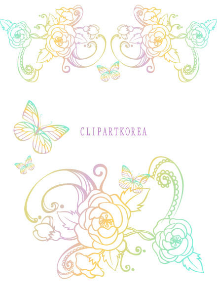 free vector Lace, flowers and butterflies vector material