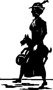 free vector Lady Walking Dog clip art