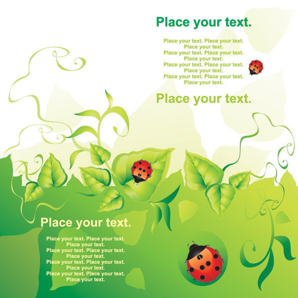 free vector Ladybug leaves drop lace background vector