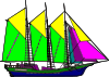 free vector Large Sailing Ship Yellow Purple clip art
