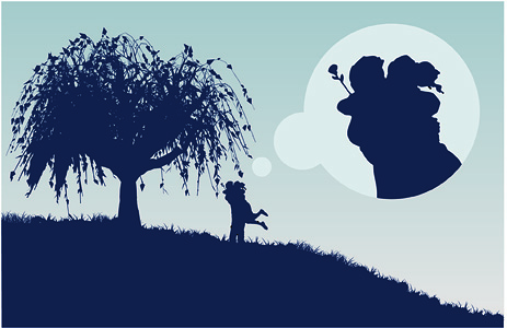 free vector Large trees couple silhouette vector