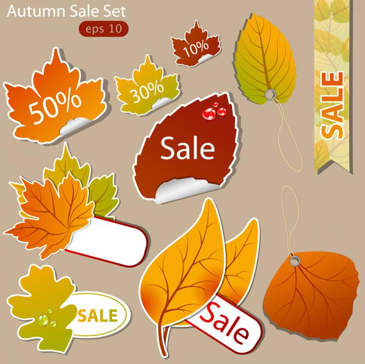 free vector Leaf label 02 vector