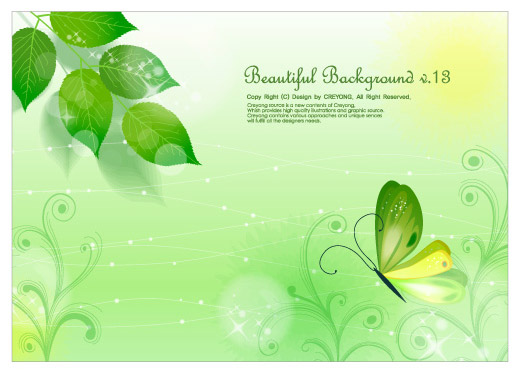 free vector Leaves and butterflies vector fantasy background