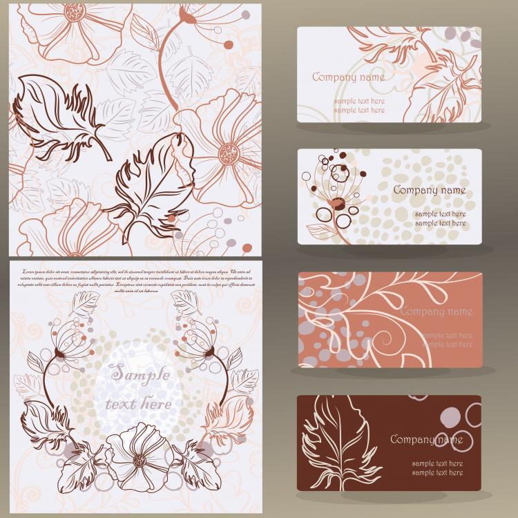 free vector Leaves pattern business card 01 vector
