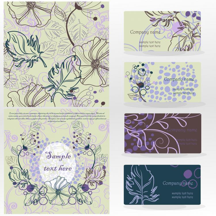 free vector Leaves pattern business card 02 vector
