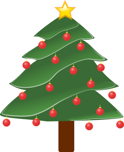 free vector Lightly Decorated Evergreen clip art