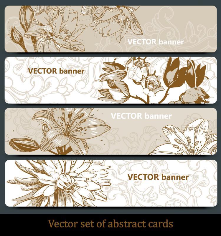 free vector Line art pattern banner01vector