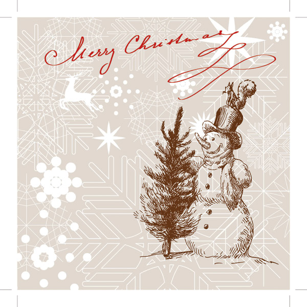Free Vector Line Drawing Christmas Cards Vector ...