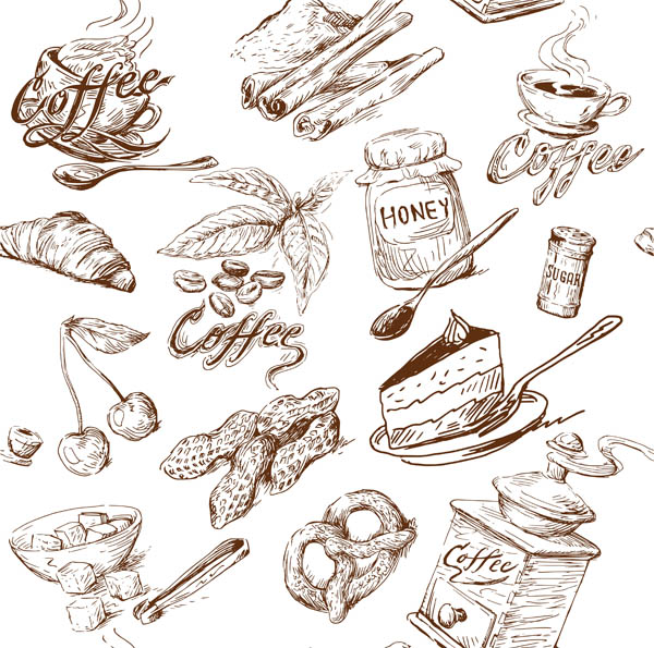 free vector Line drawing of food and kitchen utensils vector