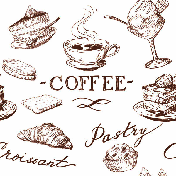 Line Art Food : Line drawing of food and kitchen utensils vector free