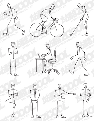free vector Line drawing of the movement of people