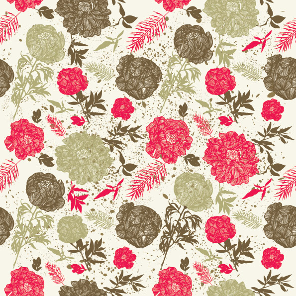 ... free vector Line Drawn Flower Vector Patterns