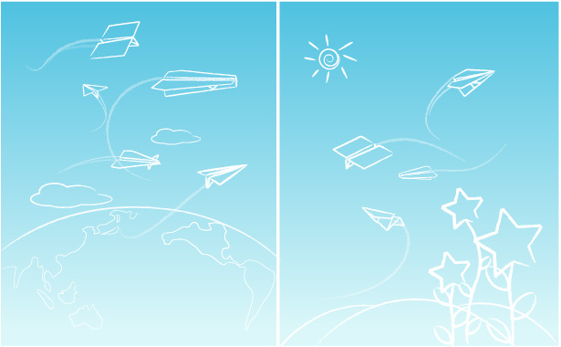 free vector Line paper airplane graffiti vector