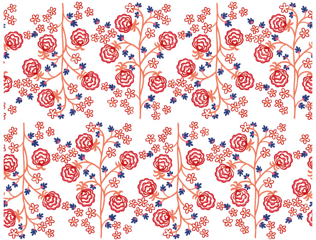 free vector Lines of small trees and flowers handpainted background vector