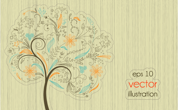 free vector Lines of trees illustrator 01 vector